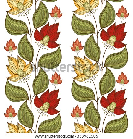 Seamless Floral Pattern. Hand Drawn Floral Texture, Decorative Flowers, Coloring Book - stock photo