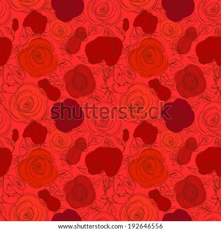 Seamless Floral Pattern. Hand Drawn Red Sketchy Background with Roses.