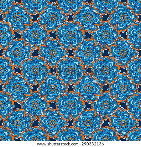 Seamless floral pattern in naive ethnic style, folk motifs. Bright colorful multicolored flowers on a blue background.  - stock photo