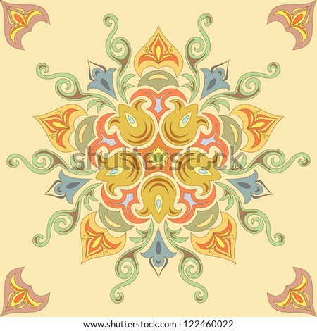 Seamless floral pattern in pastel colors. Mandala - stock photo