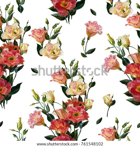 Seamless Floral Pattern In Victorian Style A Bouquet Of Wedding Flowers White And Pink