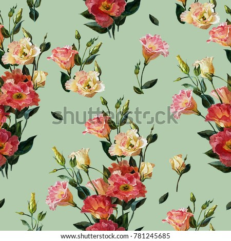 Seamless Floral Pattern In Victorian Style Bouquet Of Lisianthus Isolated On An Olive Background