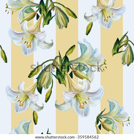 Seamless floral pattern.lilies on a striped backgroun.Watercolor painting. - stock photo