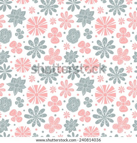 Seamless floral pattern of the colors pink and blue on a white background