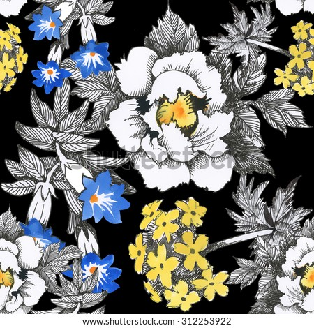 Seamless floral pattern on black background with watercolor summer meadow blooming flowers - stock photo