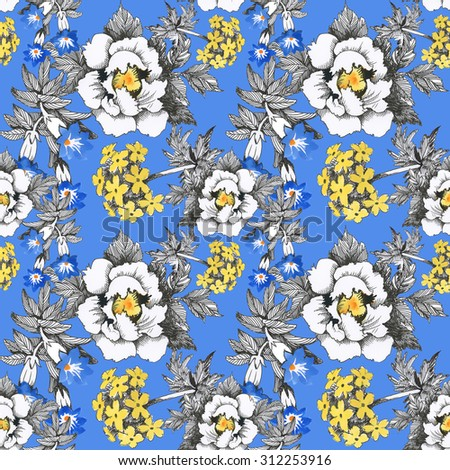 Seamless floral pattern on blue background with watercolor summer meadow blooming flowers - stock photo