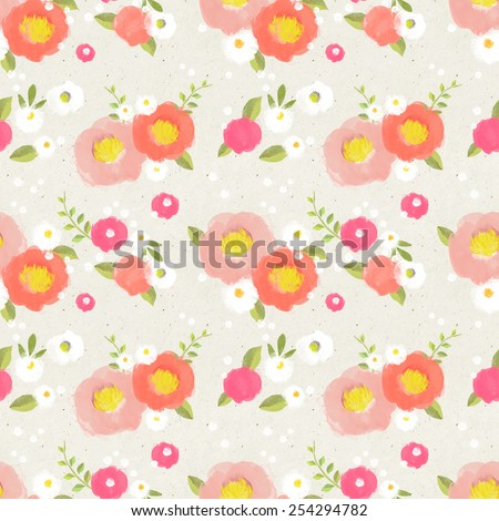 Seamless floral pattern on paper texture - stock photo
