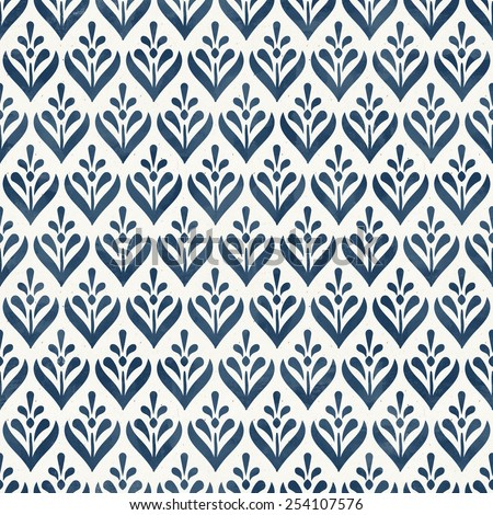Seamless floral pattern on paper texture. Cobalt blue collection - stock photo