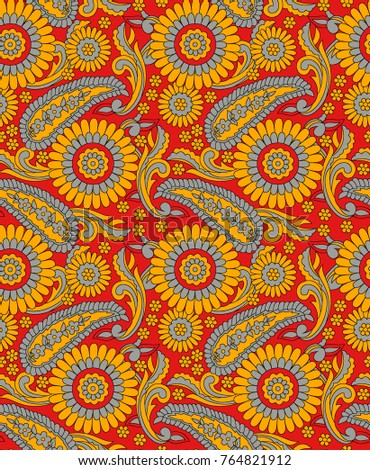 Seamless floral pattern on red background