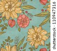 Seamless floral pattern on vintage paper background - stock photo