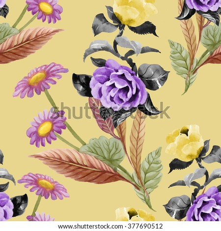 Seamless floral pattern on yellow background with blooming chamomile flowers and roses - stock photo