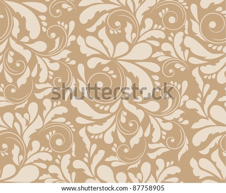 Seamless floral pattern, raster illustration - stock photo