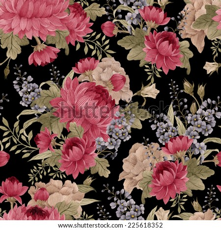 Seamless floral pattern roses with chrysanthemum and delphinium , watercolor - stock photo