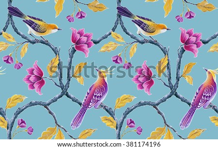 seamless floral pattern, spring flowers and birds background, hand painted chinoiserie wallpaper - stock photo