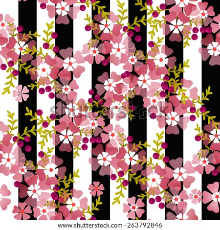 Seamless floral pattern striped background  - stock photo