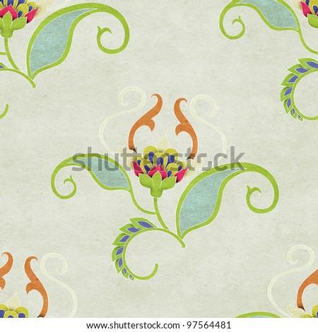 Seamless floral pattern.  Vintage background. - stock photo