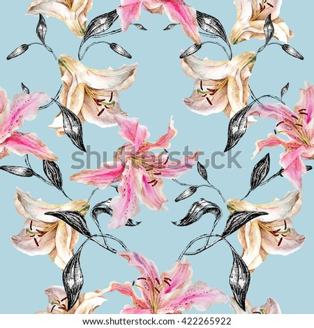 Seamless floral pattern.White and pink lily with monochrome leaves on a blue background .Watercolor painting. - stock photo