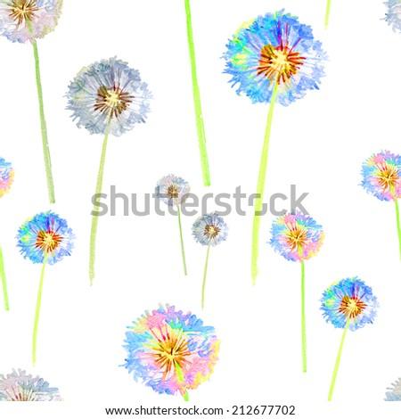 Seamless floral pattern white dandelion - stock photo