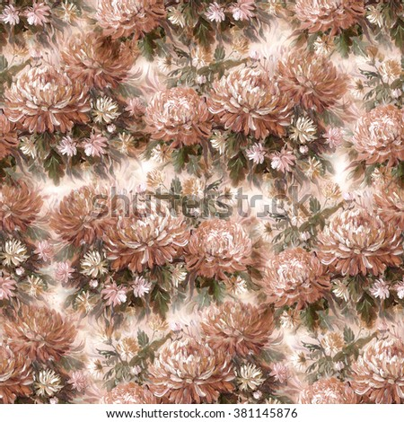Seamless floral pattern with beautiful hand painting chrysanthemum - stock photo