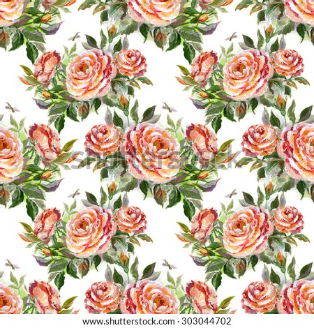 Seamless floral pattern with beautiful oil painting roses - stock photo