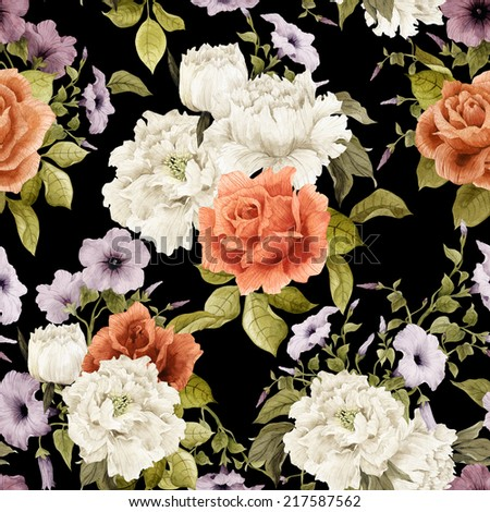 Seamless floral pattern with  convolvulus and roses, watercolor - stock photo