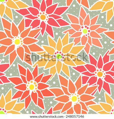 Seamless floral pattern with cute cartoon flowers print background  - stock photo
