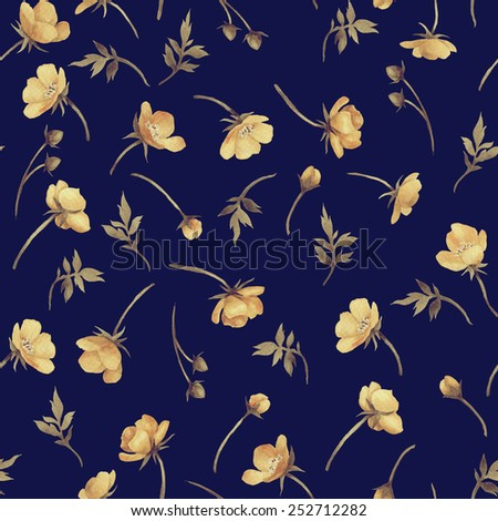 Seamless floral pattern with Golden buttercup flower,  watercolor  - stock photo