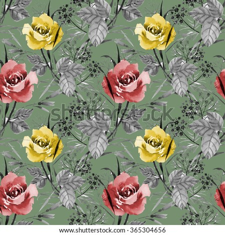 Seamless floral pattern with of red and yellow roses on green background, watercolor illustration - stock photo