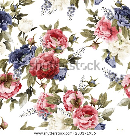 Seamless floral pattern with peonies and delphinium on light background, watercolor  - stock photo