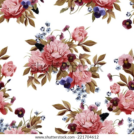 Seamless floral pattern with peonies and pansy, watercolor. - stock photo