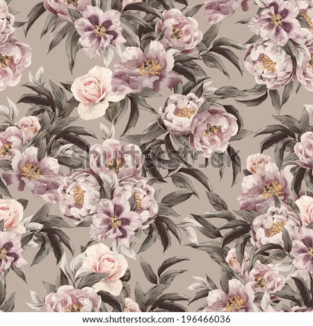 Seamless floral pattern with red, purple and pink roses on light background, watercolor. - stock photo