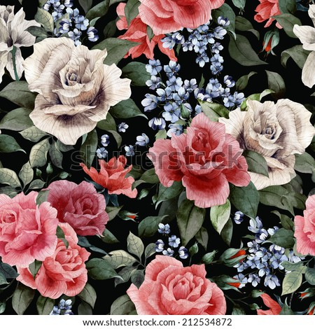 Seamless floral pattern with red, white and pink roses on dark background, watercolor. - stock photo