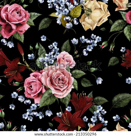 Seamless floral pattern with roses and lilies on watercolor background. - stock photo