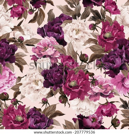 Seamless floral pattern with roses on light background, watercolor. - stock photo