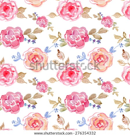 Seamless floral pattern with roses on light background, watercolor.