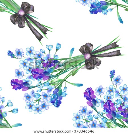 Seamless floral pattern with the bouquets of blue forget-me-not flowers (Myosotis) and lavender flowers, decorated by bow, painted in a watercolor on a white background