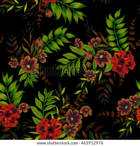 Seamless Floral Pattern With Vintage Style Illustration. Exotic Garden  Flowers In Beautiful Arrangements,layered