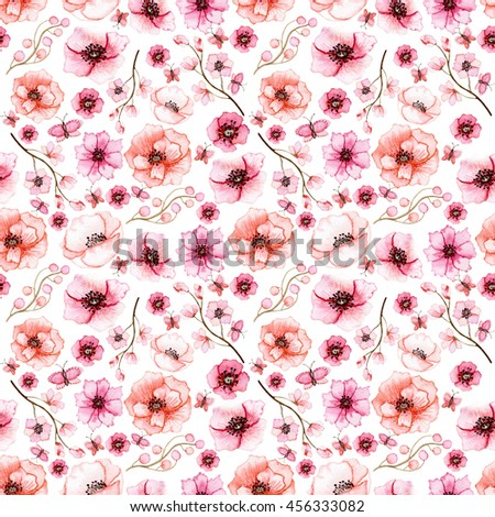 Seamless Floral Pattern with Watercolor Bright Red and Pink Flowers