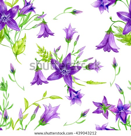 Seamless floral pattern with watercolor violet flowers. Perfect for textile design, wallpaper, cover design and more.  - stock photo
