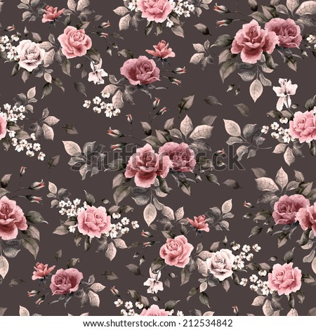 Seamless floral pattern with white, purple and pink roses on dark background, watercolor. - stock photo