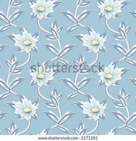 Seamless Floral Wallpaper - Vector - stock photo