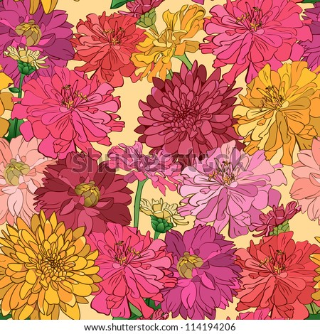 Seamless floral wallpaper with hand-drawn flowers, brightly-colored. Eps file is also available - stock photo