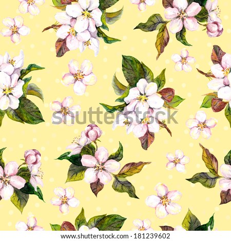 Seamless floral yellow backdrop with watercolour painted fruit flowers - apple, cherry, plum, apricot blossom - stock photo