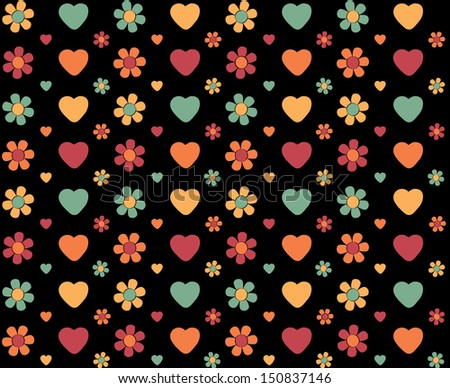 seamless flower and heart background on black  - stock photo