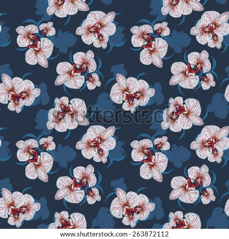 Seamless Flower  Orchid Pattern. Summer painting garden for design - stock photo