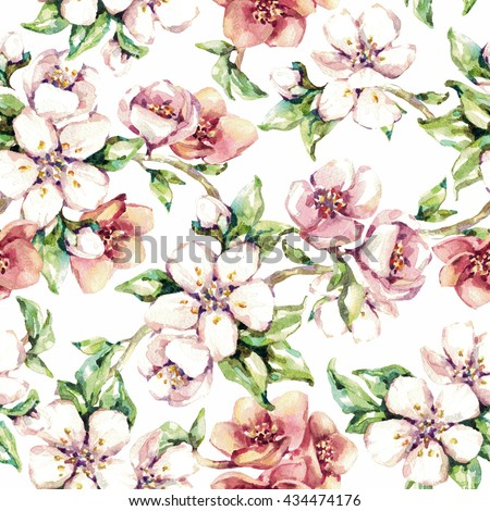Seamless flowers pattern. Beautiful tender soft watercolor branches of cherry blossoms. White background - stock photo