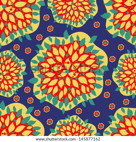 seamless flowers, rasterized vector. Vector file is also in my portfolio. - stock photo