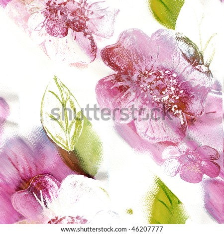 Seamless Flowers Watercolor Art - stock photo