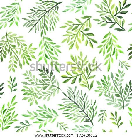 Seamless foliate watercolor ornament - stock photo