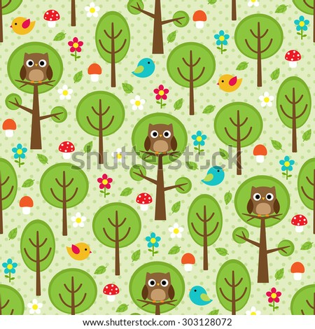 Seamless forest pattern with owls, birds, trees, leafs, mushrooms and flowers. Raster version - stock photo